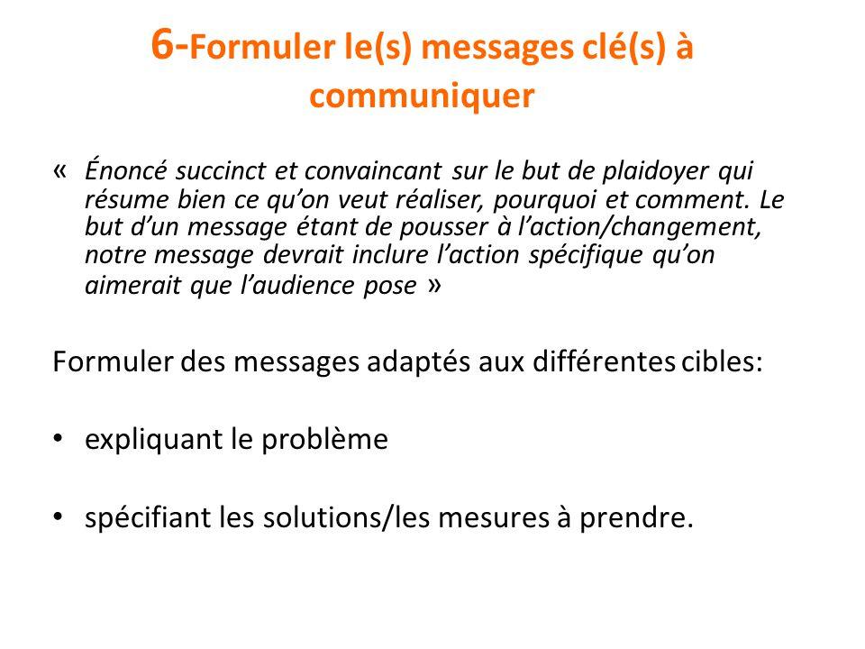 6-Formuler le(s) messages clé(s) à communiquer