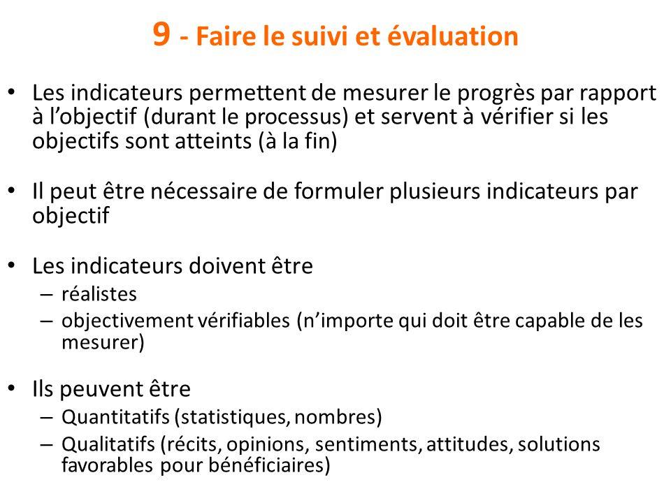 9 - Faire le suivi et évaluation