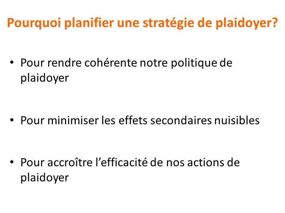 Pourquoi planifier une stratégie de plaidoyer