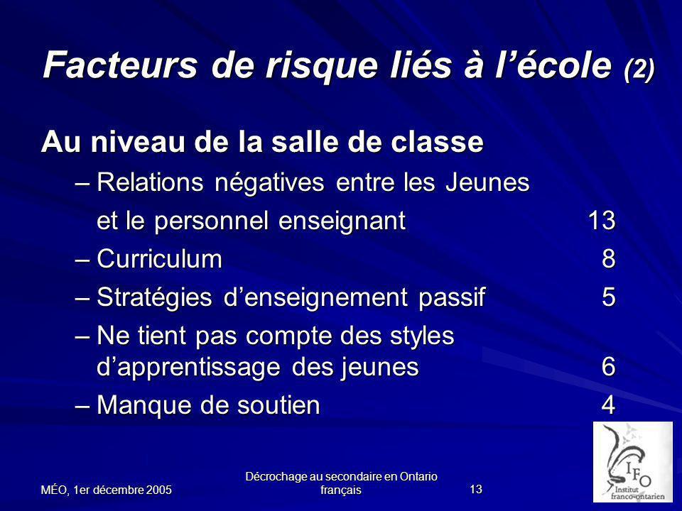 Facteurs de risque liés à l'école (2)