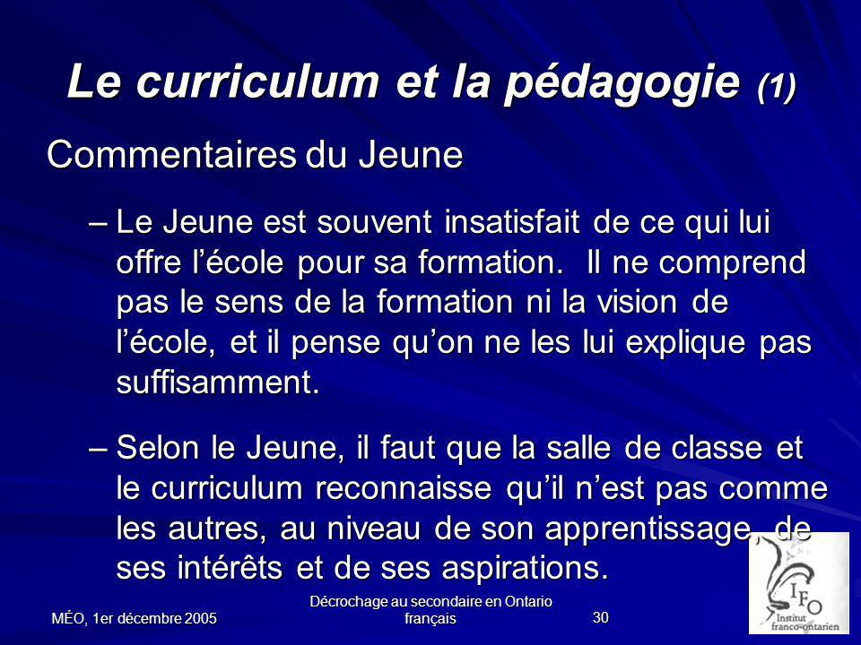 Le curriculum et la pédagogie (1)