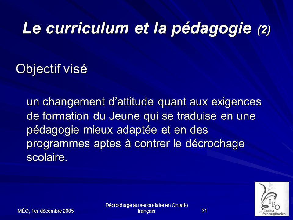 Le curriculum et la pédagogie (2)