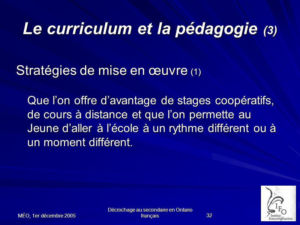 Le curriculum et la pédagogie (3)