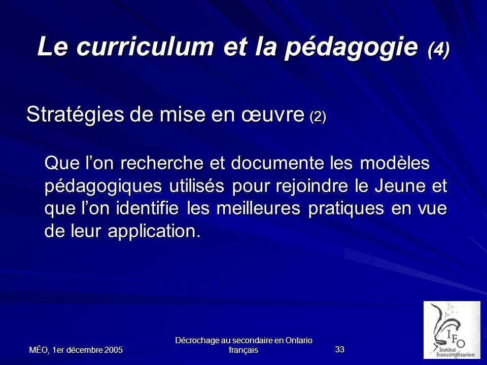 Le curriculum et la pédagogie (4)