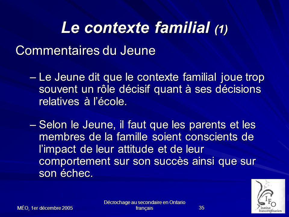 Le contexte familial (1)