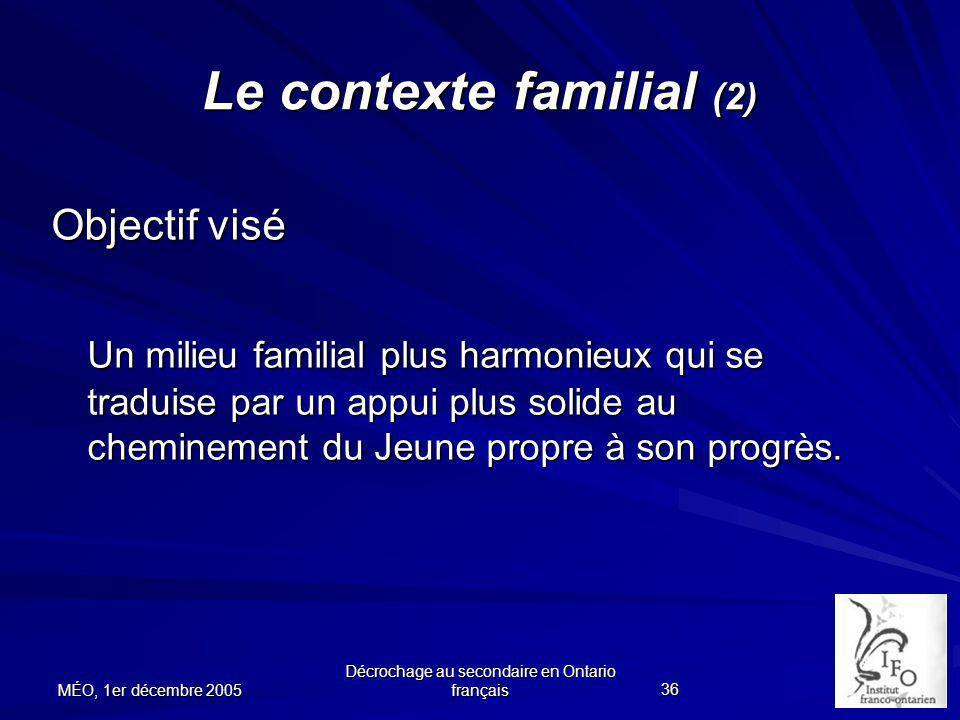 Le contexte familial (2)
