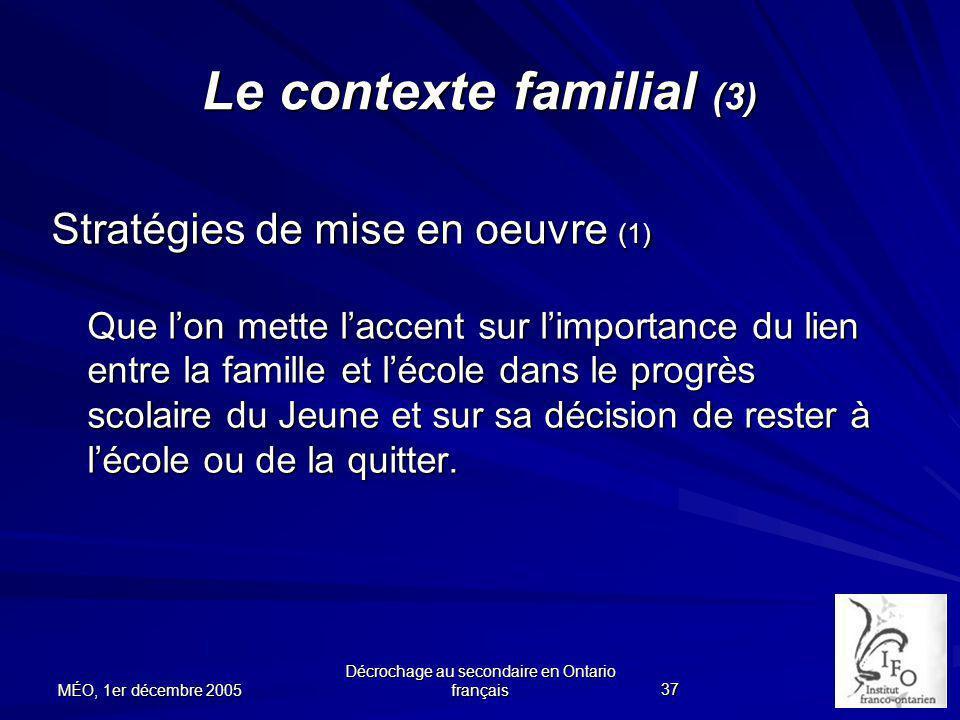 Le contexte familial (3)