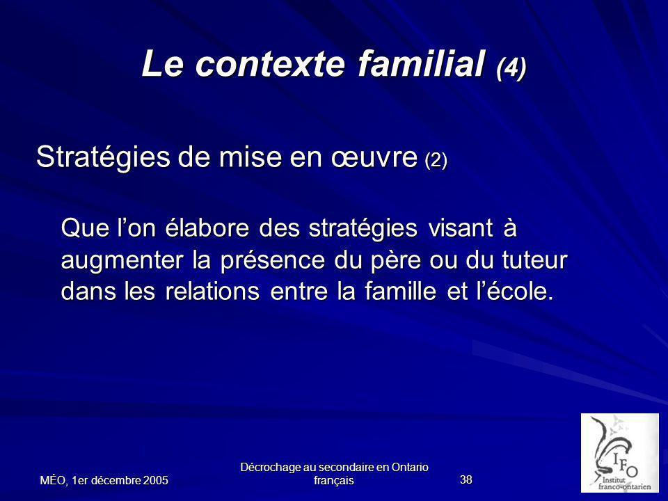 Le contexte familial (4)