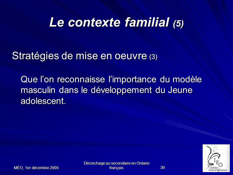 Le contexte familial (5)