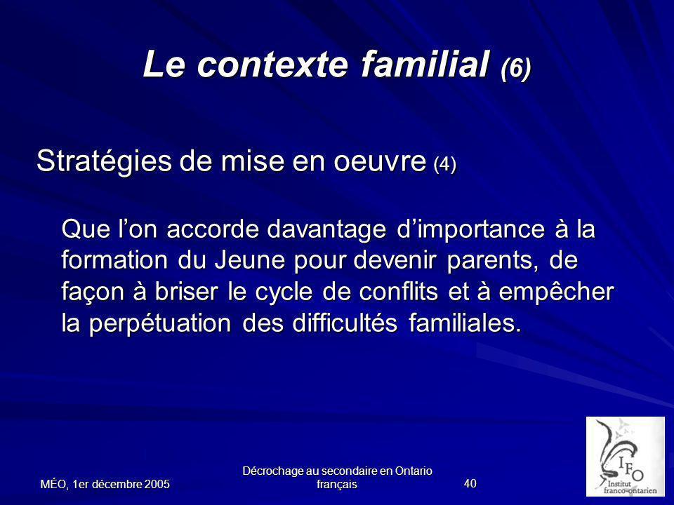 Le contexte familial (6)