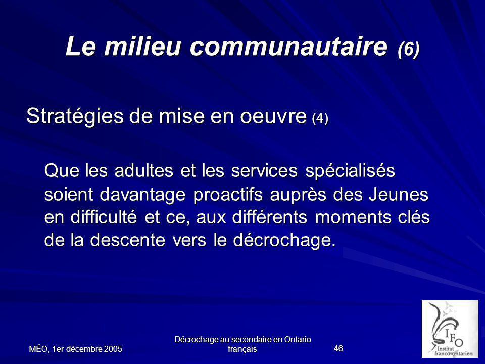Le milieu communautaire (6)