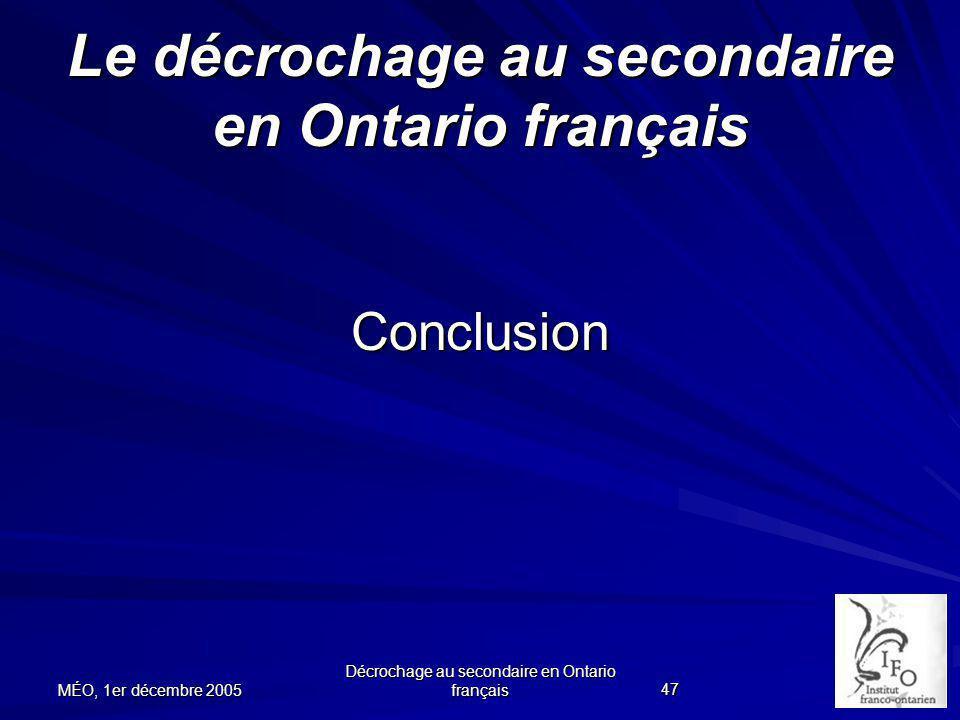 Le décrochage au secondaire en Ontario français