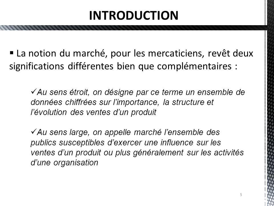 INTRODUCTION La notion du marché, pour les mercaticiens, revêt deux significations différentes bien que complémentaires :
