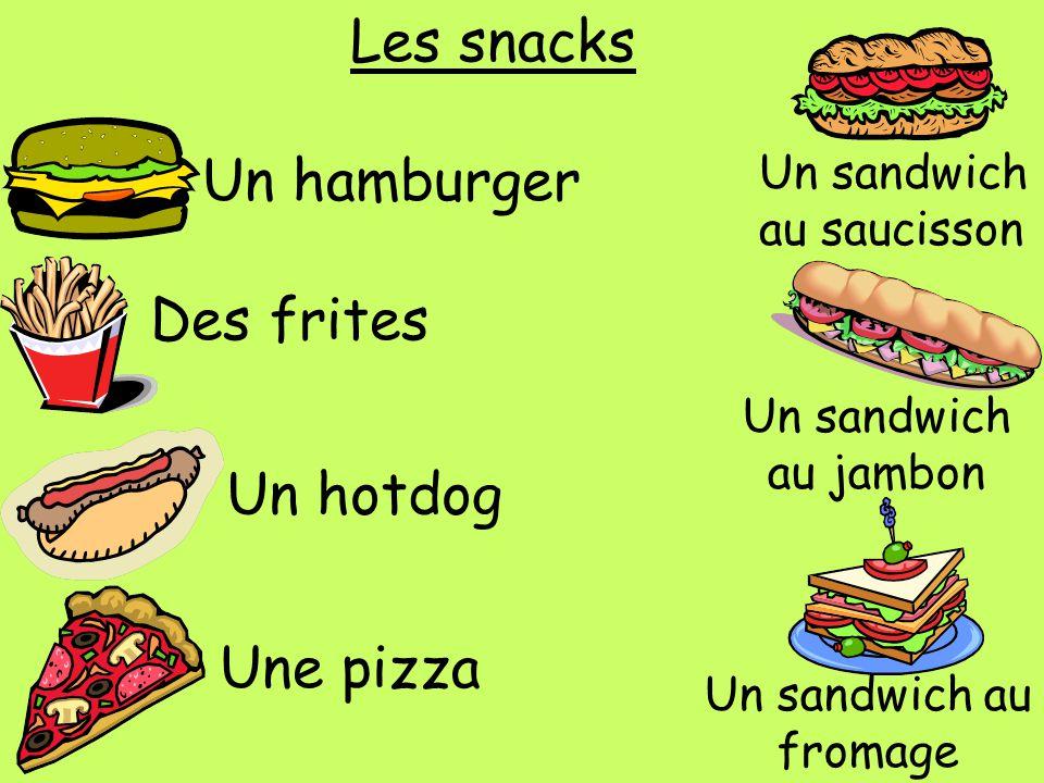 Les snacks Un hamburger Des frites Un hotdog Une pizza