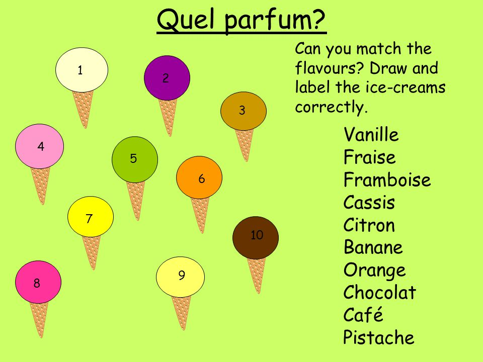 Quel parfum Vanille Fraise Framboise Cassis Citron Banane Orange