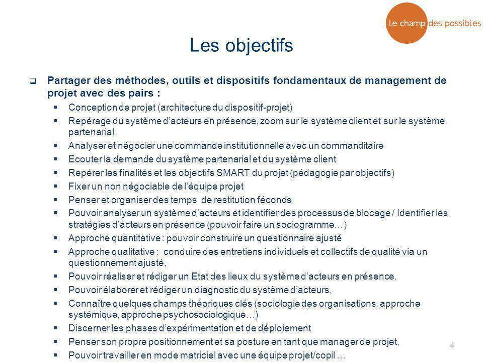 Les objectifs Partager des méthodes, outils et dispositifs fondamentaux de management de projet avec des pairs :