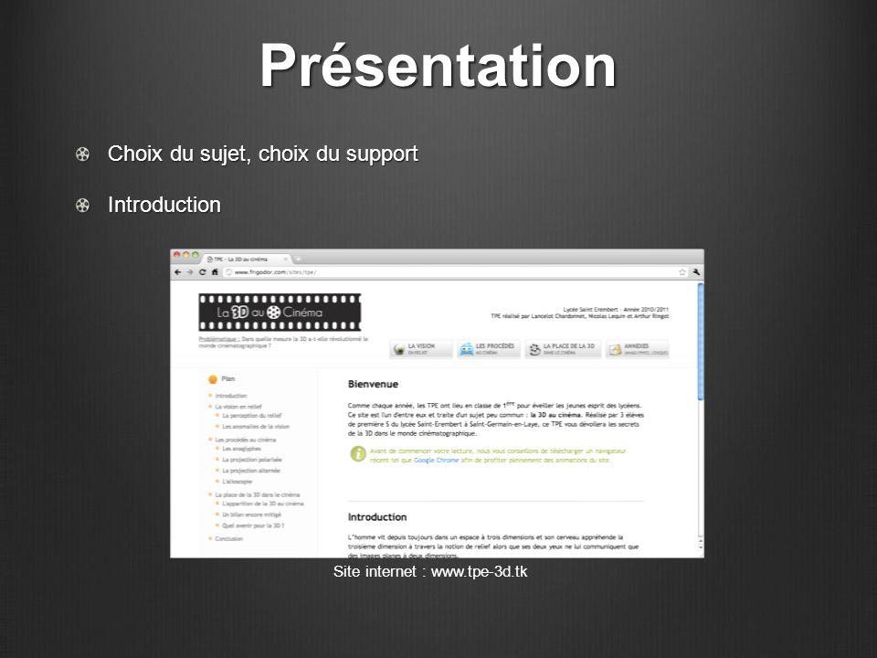 Présentation Choix du sujet, choix du support Introduction