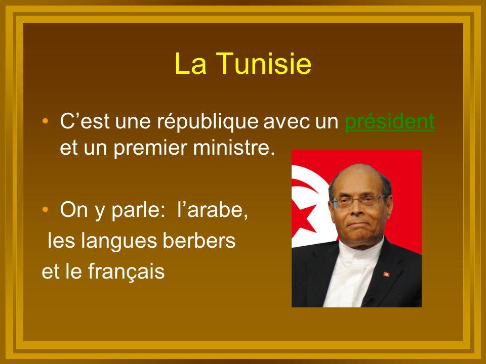 La Tunisie C'est une république avec un président et un premier ministre. On y parle: l'arabe, les langues berbers.