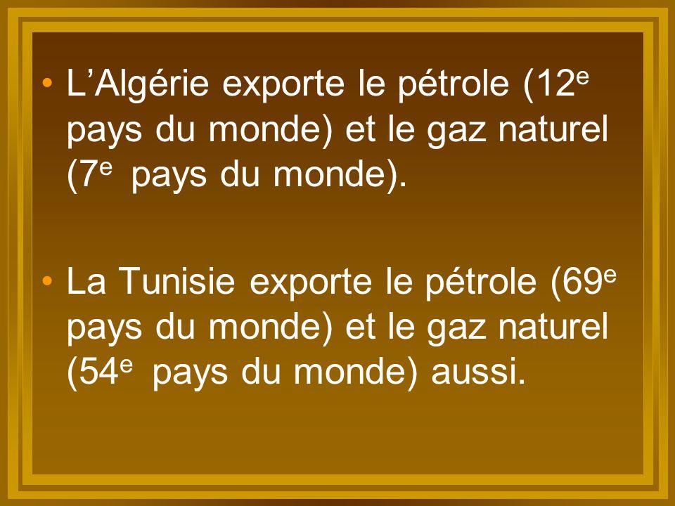 L'Algérie exporte le pétrole (12e pays du monde) et le gaz naturel (7e pays du monde).
