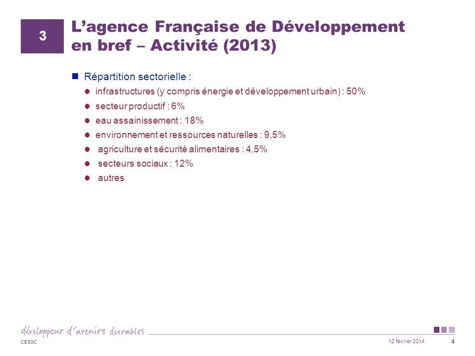 L'agence Française de Développement en bref – Activité (2013)