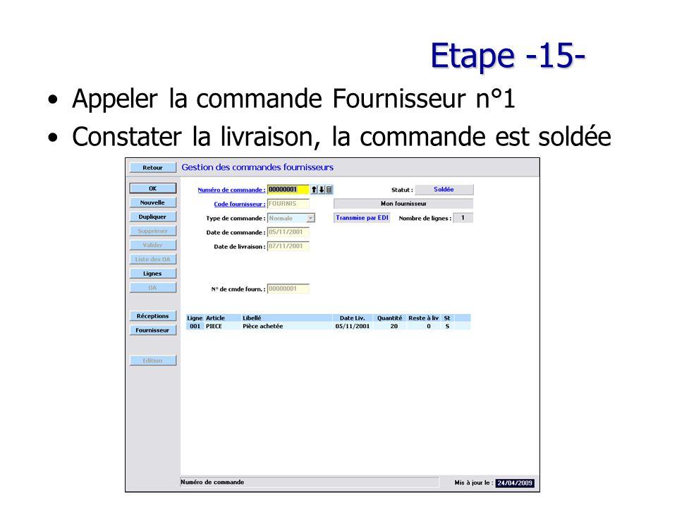 Etape -15- Appeler la commande Fournisseur n°1