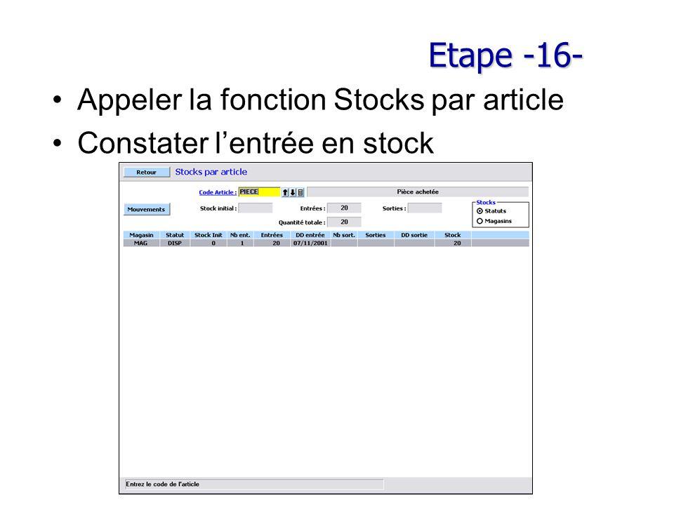 Etape -16- Appeler la fonction Stocks par article