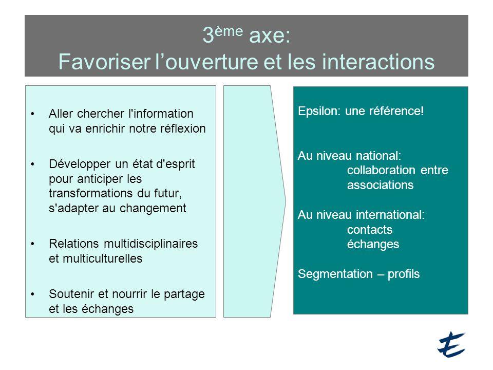 3ème axe: Favoriser l'ouverture et les interactions