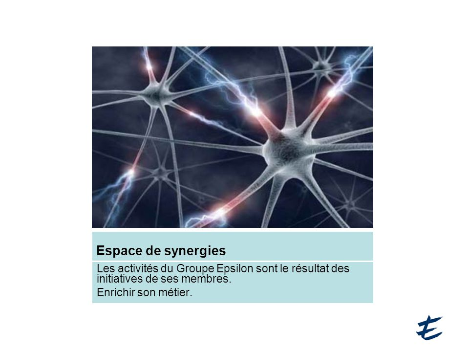 Espace de synergies Les activités du Groupe Epsilon sont le résultat des initiatives de ses membres.