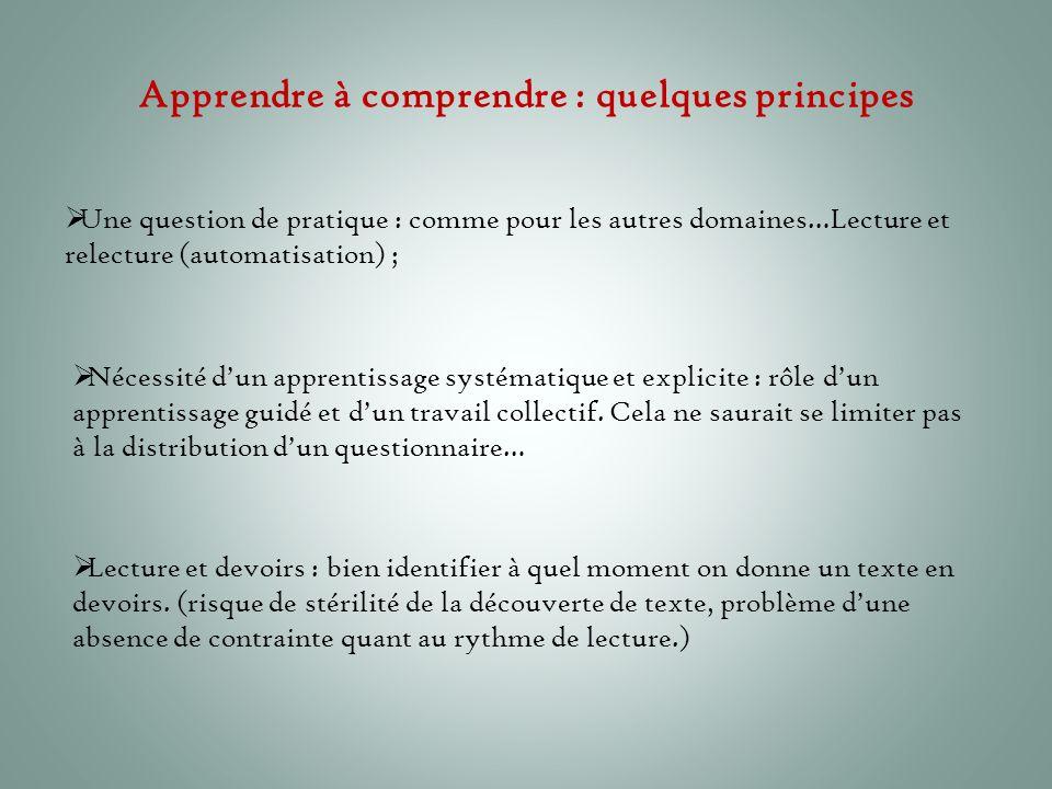 Apprendre à comprendre : quelques principes