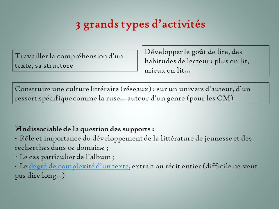 3 grands types d'activités