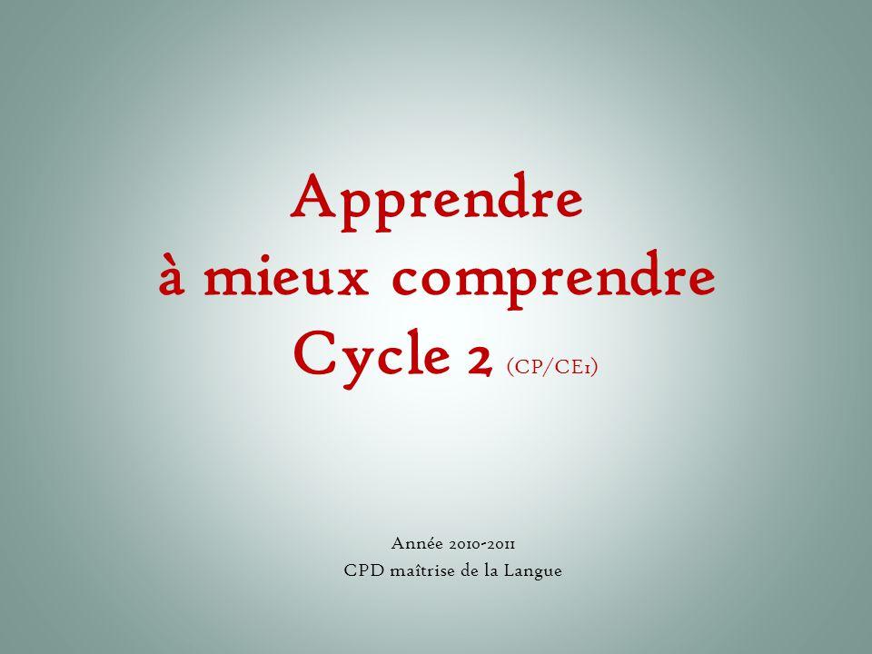 Apprendre à mieux comprendre Cycle 2 (CP/CE1)