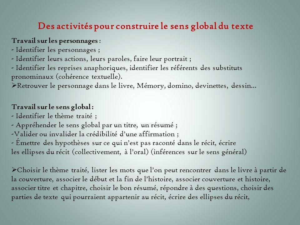 Des activités pour construire le sens global du texte
