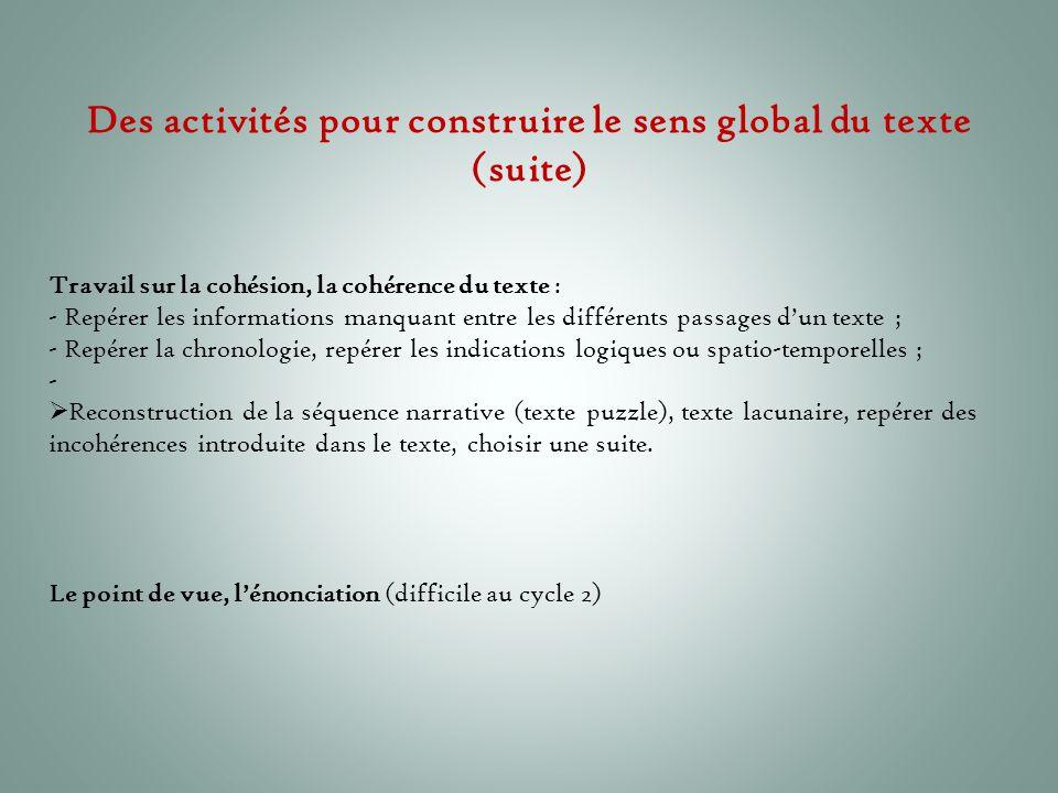 Des activités pour construire le sens global du texte (suite)