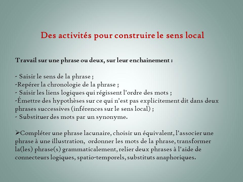 Des activités pour construire le sens local