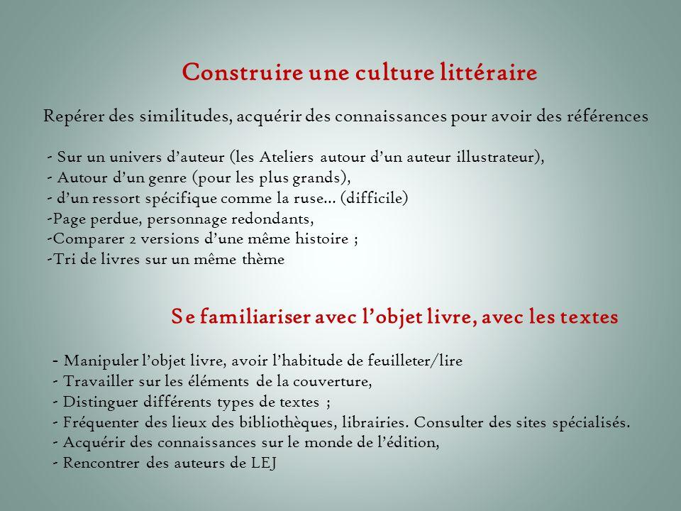 Construire une culture littéraire
