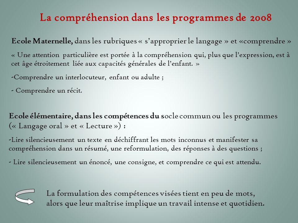 La compréhension dans les programmes de 2008