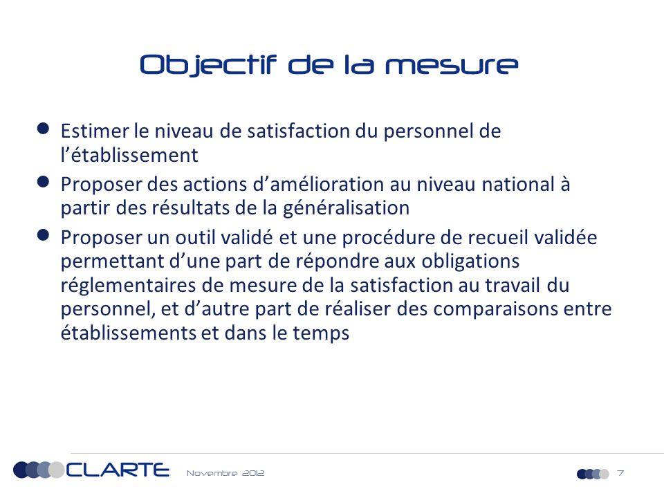 Objectif de la mesure Estimer le niveau de satisfaction du personnel de l'établissement.
