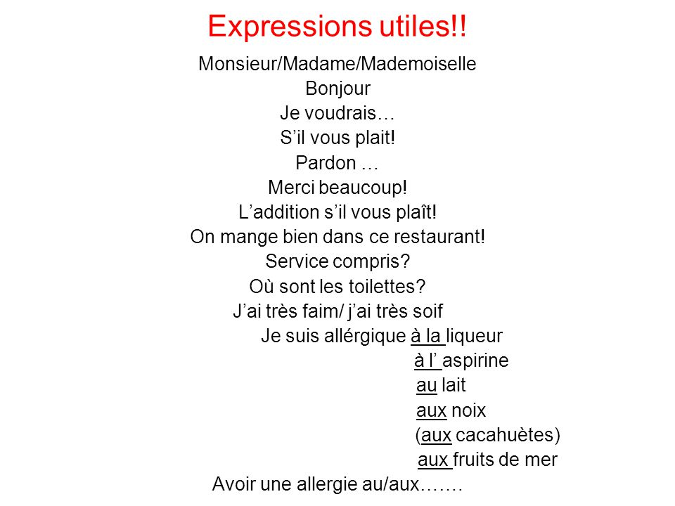 Expressions utiles!! Monsieur/Madame/Mademoiselle Bonjour Je voudrais…