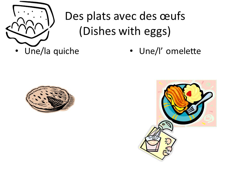 Des plats avec des œufs (Dishes with eggs)