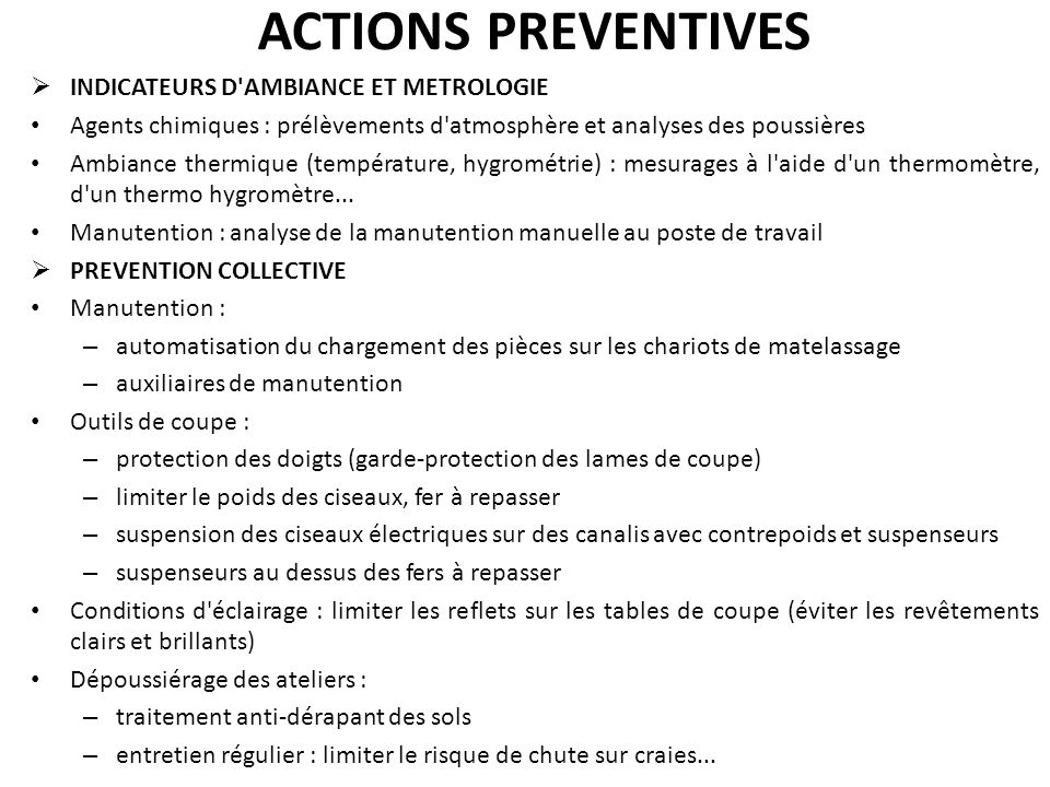 ACTIONS PREVENTIVES INDICATEURS D AMBIANCE ET METROLOGIE