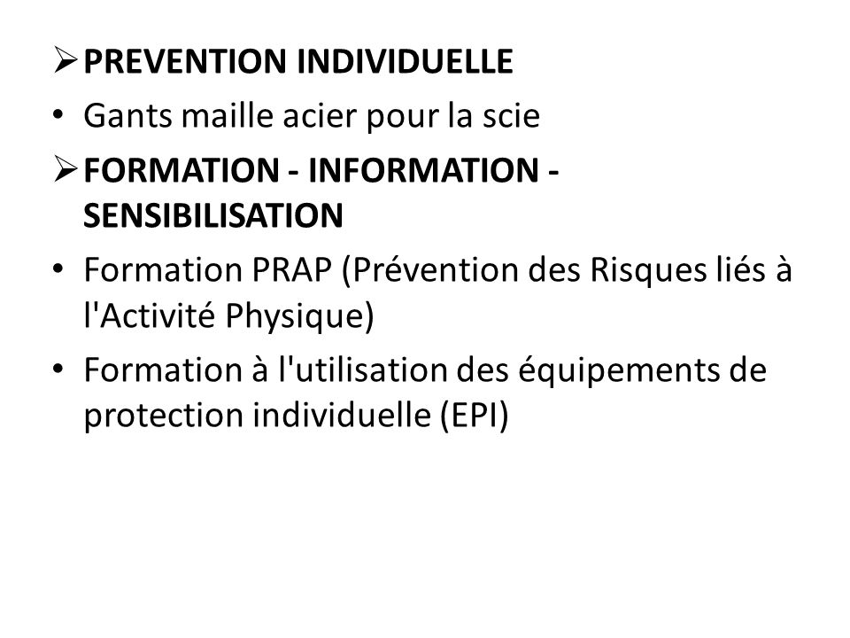 PREVENTION INDIVIDUELLE