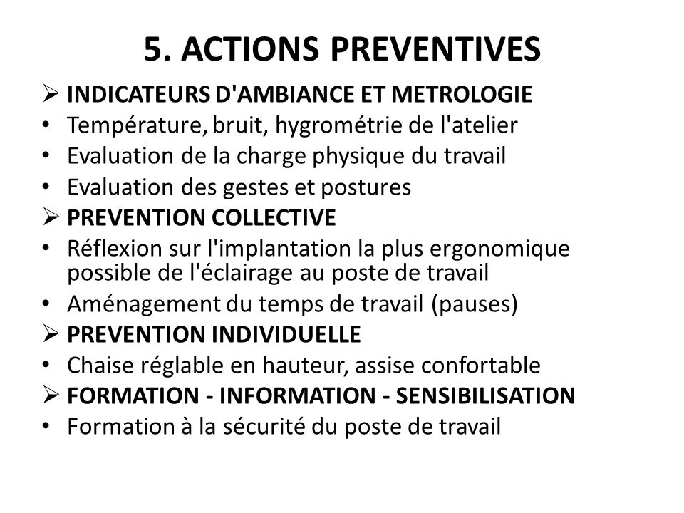 5. ACTIONS PREVENTIVES INDICATEURS D AMBIANCE ET METROLOGIE