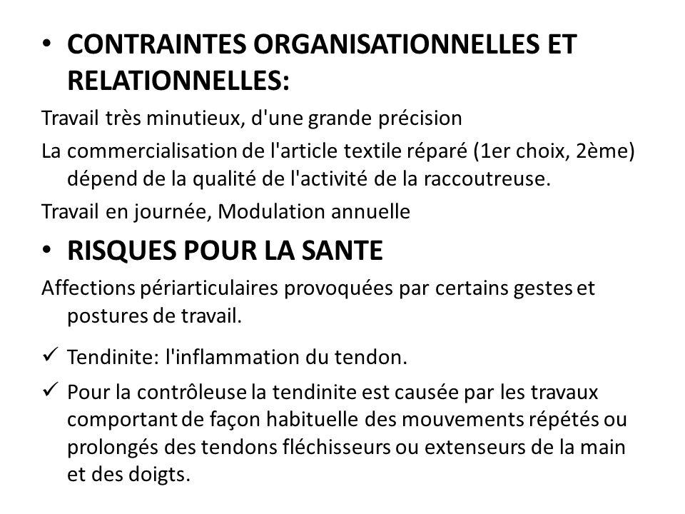 CONTRAINTES ORGANISATIONNELLES ET RELATIONNELLES:
