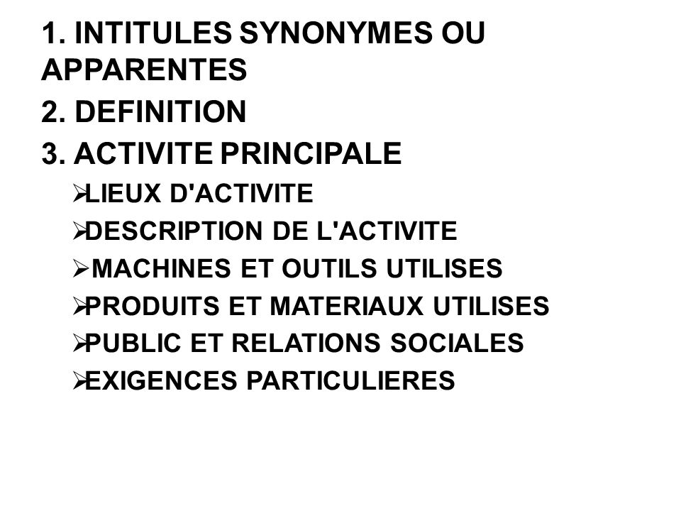 1. INTITULES SYNONYMES OU APPARENTES 2. DEFINITION