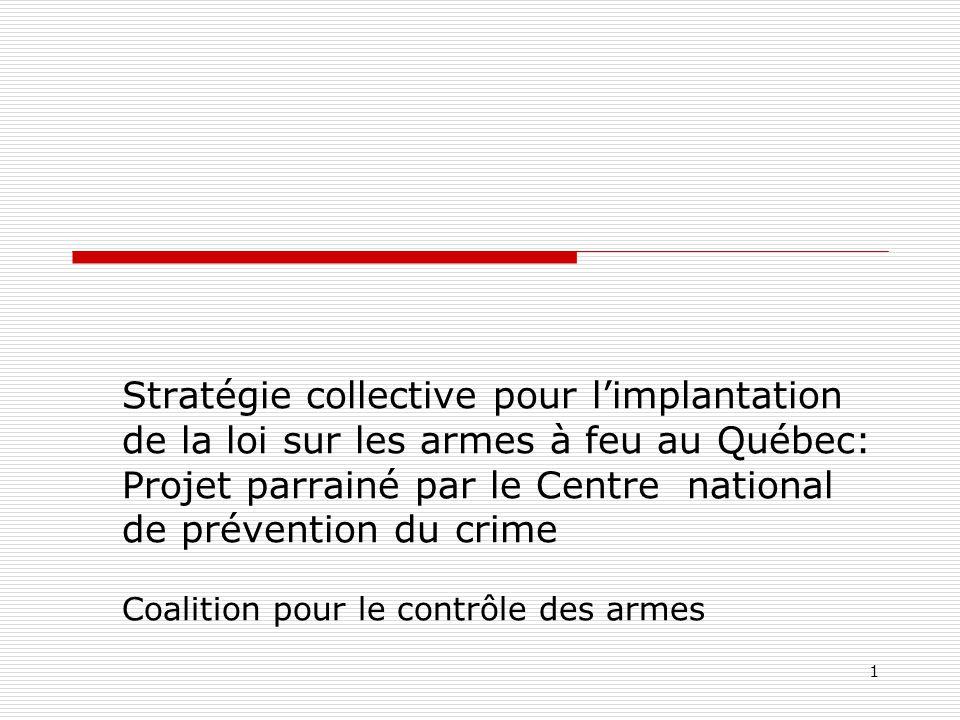Stratégie collective pour l'implantation de la loi sur les armes à feu au Québec: Projet parrainé par le Centre national de prévention du crime Coalition pour le contrôle des armes