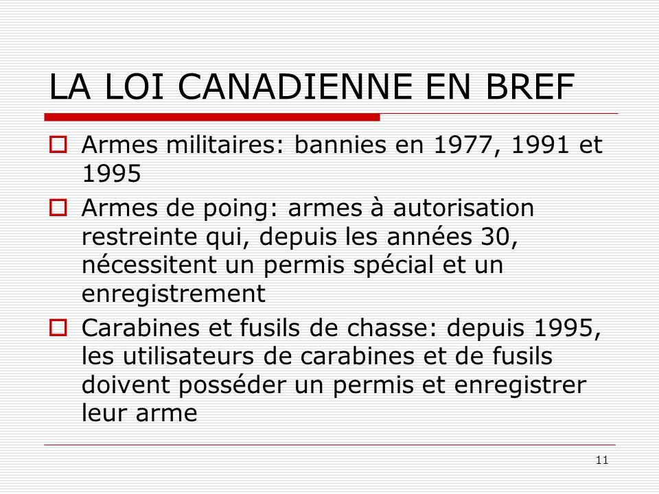 LA LOI CANADIENNE EN BREF