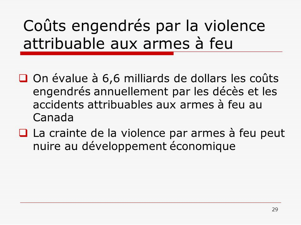Coûts engendrés par la violence attribuable aux armes à feu