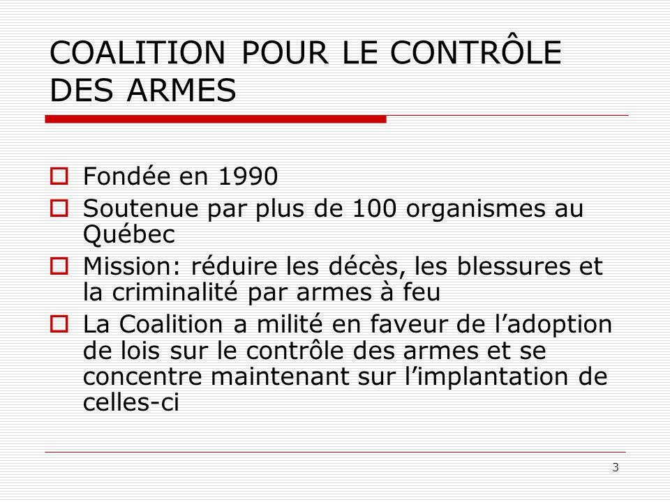 COALITION POUR LE CONTRÔLE DES ARMES