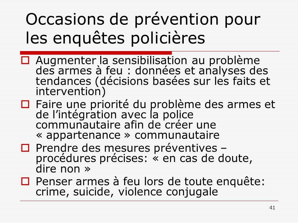 Occasions de prévention pour les enquêtes policières