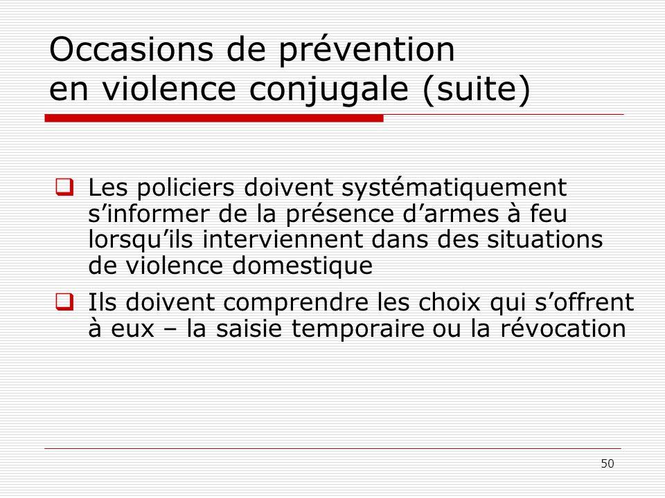 Occasions de prévention en violence conjugale (suite)